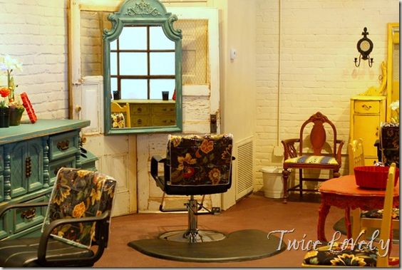 An amazing 'repurpose themed' hair salon... so colourful and fun! @danielle voigt ...this is COOL! :)