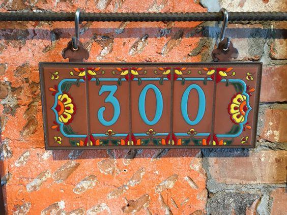 Custom Turquoise On Terra Cotta Talavera Ceramic House Number Etsy Ceramic House Numbers House Numbers Custom House Numbers