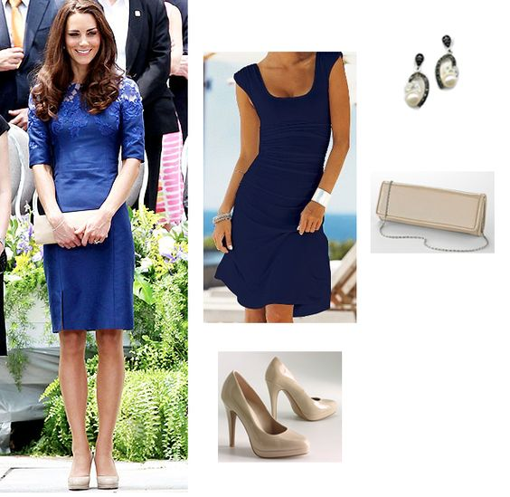 navy blue dress and nude shoes If Kate does it- it must be okay ...