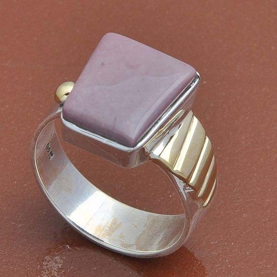 925 STERLING SILVER PHOSPHOSIDRITE STONE RINGJEWELLERY 6.57g DJR3615 #Handmade #Ring