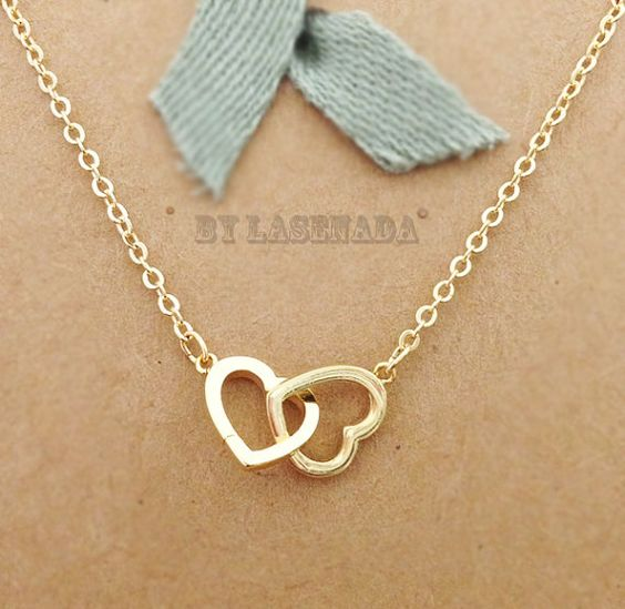 Double Heart Necklace in Gold everyday jewelry by LaSenada on Etsy