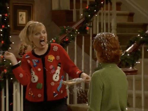 "Barbara Jean rocks an ""ugly Christmas sweater"" on an episode of ""Reba""."