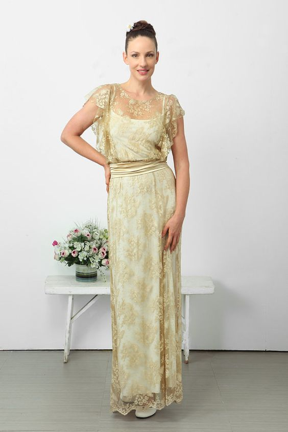 gold lace, relaxed shape.