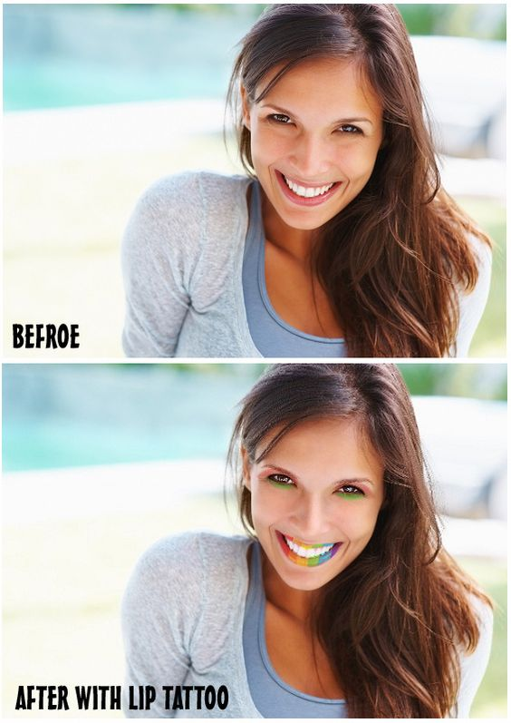 before and after with Perfect365's new lip tattoo effect! Color my pics!