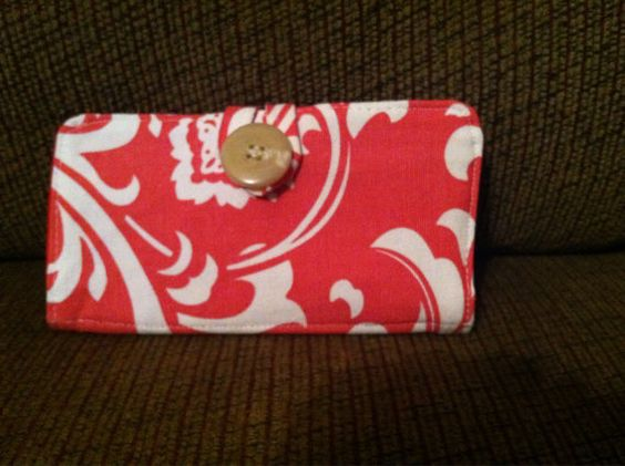 Bifold Fabric Wallet Clutch in coral and white damask