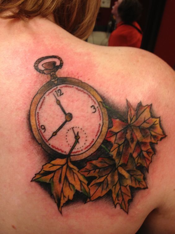 pocket watches autumn leaves and autumn leaves tattoo on pinterest. Black Bedroom Furniture Sets. Home Design Ideas