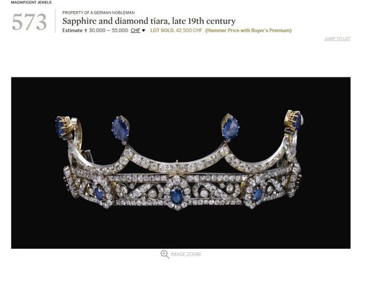 Although this beautiful diamond and sapphire tiara was offered for sale via Sotheby's ( on 14 November 2012, fetching CHF42,500) by the von Finck Family of Germany, it has a Habsburg background. More from the ever-brilliant Ursula at royal magazin. https://royal-magazin.de/french/marie-louise/sapphire-bourbon-habsburg-tiara.htm