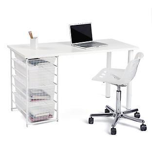 White Elfa Component Desk Container Store Organization