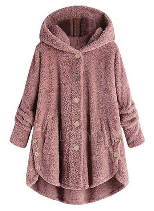 HOOUDO Coats for Women,Autumn Winter Warm/ Thicken Soft Solid Color Teddy Bear Fluffy Fleece Wool/ Jackets Sweatshirt with Hoodie Cardigan