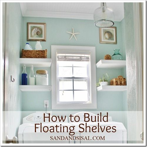 How to build floating shelves by Sand & Sisal: Bathroom Color, Diy Floating, Wall Color, Laundry Rooms, Paint Colors, Diy Project, Diy Shelves, Build Floating