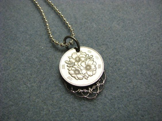 Japanese Coin Necklace with Sakura Flowers 100 Yen by BeadToLive