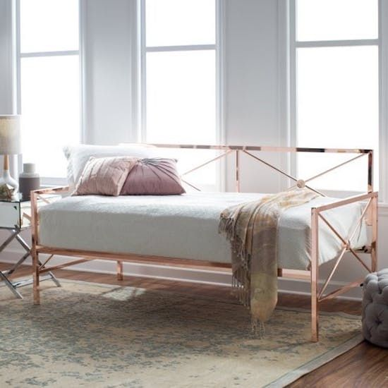 12 Daybeds That Are Proof You Don T Need A Sofa In Your Living Room Rose Gold Bedroom Gold Bed Frame Rose Gold Bed