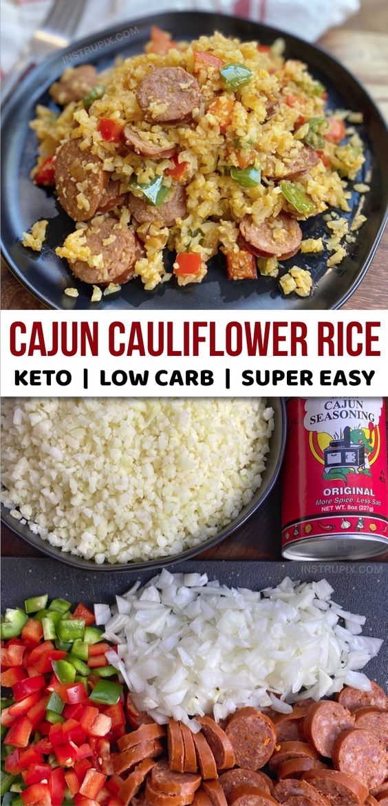 Keto Cajun Cauliflower Rice (Quick & Easy Low Carb Dinner Recipe Made in ONE Pan!)