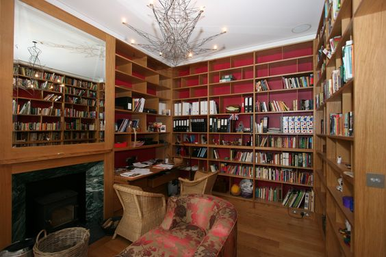 Beautiful and inspiring space to work in. Bespoke shelving suited to the style of the room.