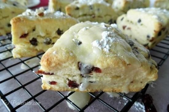Cranberry Chocolate Scones are a delightful Brunch idea this winter! by Bakerette @whatscookingwithruthie.com #recipes #scones #cranberry