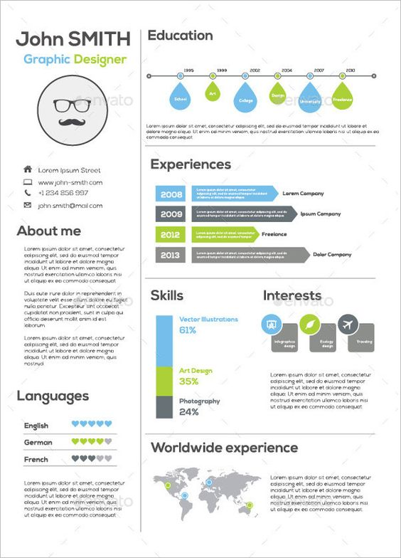 12 Infographic Resume Templates ovim Pinterest Infographic - 1 page resume template