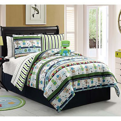 Kids Bedding Boys Twin Size Robbie The Robot 9 Piece Bed in Bag w Sheet Set Teen | eBay
