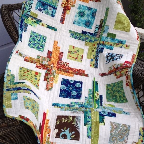 "Made: quilt idea from ""Film on the Fridge"" blog Converging Corners."