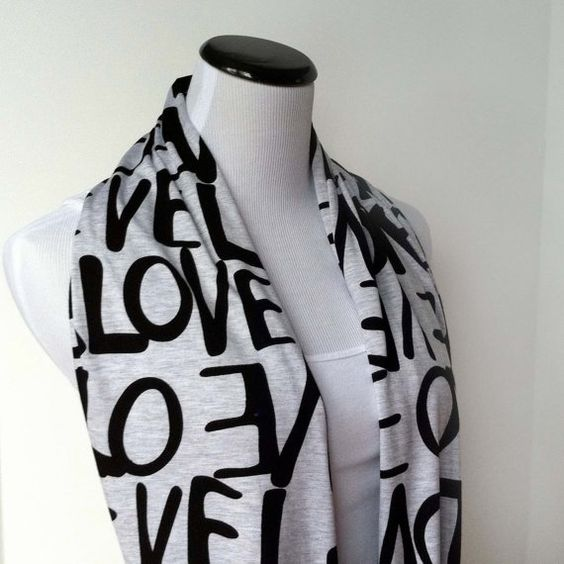 Love Scarf, Jersey Knit Infinity Scarf, Soft Circle Scarf, Text Scarf, Fall Fashion Accessory
