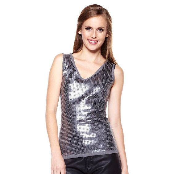 DG2 Sequined Sweater Knit Tank Top.