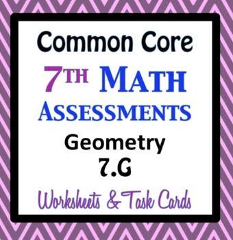 math worksheet : common core assessments math  7th  seventh grade  geometry 7 g  : Math Assessment Worksheets