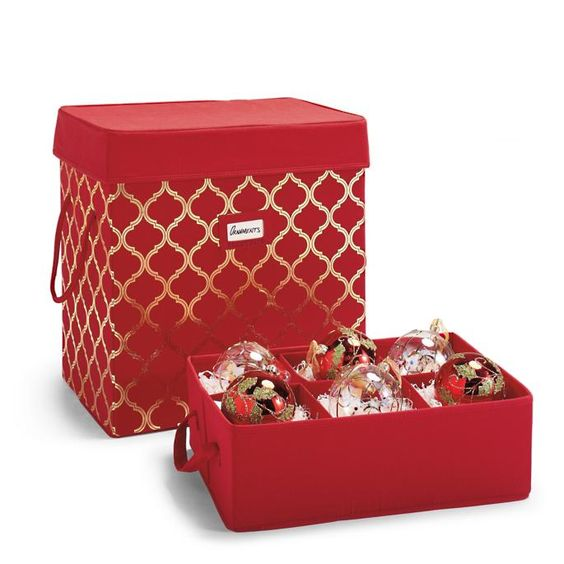 Box For Oversized Ornaments Frontgate Ornament Storage Oversized Ornaments Ornament Storage Box