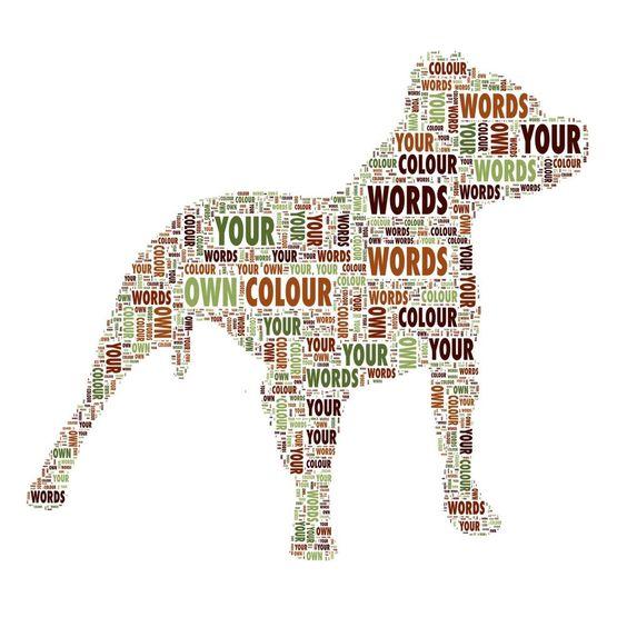 Personalised Staffie Dog Word Art Birthday Valentine Memory Gift Keepsake