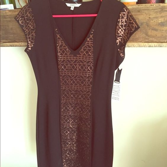 NWT BB Dakota dress Black cap sleeve dress with gold sequin detail on sleeves and down front. Great piece for any closet. Retails for $85. Cheaper on Ⓜ️ BB Dakota Dresses Mini