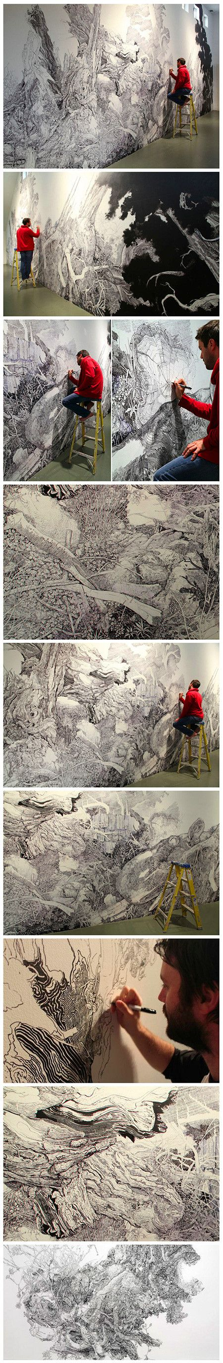 Using just a Sharpie, the artist started drawing with the image of a fallen oak tree in his mind, but his imagination quickly took off from there as he painstakingly drew heaps of rotting wood, fallen branches, knots and fissures, wild grass and plants, bushy leaves, and even a massive whale. The amount of detail in the mural is breathtaking, as each closer look reveals another aspect of the piece.