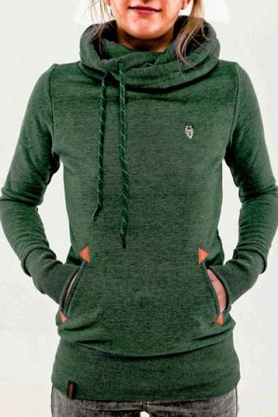 Green Animal Pockets Badge Drawstring Hooded Long Sleeve Casual ...