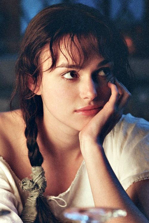 """Screenshot of Keira Knightley as Elizabeth Bennett in """"Pride and Prejudice"""" - Although my story is set earlier in the 18th century than """"Pride and Prejudice"""" is, it was common for women throughout the period to braid their hair before going to bed at night. So I could imagine my characters sporting something similar to this."""