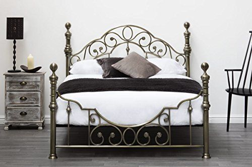 Burford Victorian Hospital Antiqued Black Metal Bed Frame Single