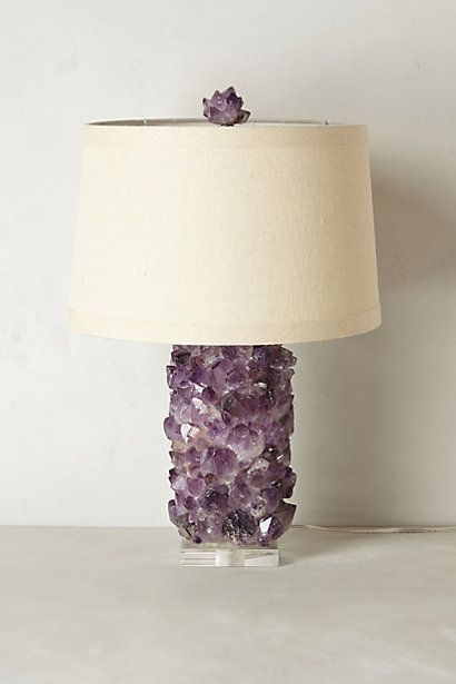 "Amethyst Crystal Lamp Base. By Kathryn McCoy. Shade not included. Amethyst, wood, lucite, metal. 60 watt max. 6' cord. 11""H, 6.5"" diameter. Glimmering crystals are clustered atop a sleek lucite base, creating an eye-catching constellation. $1,898.00"
