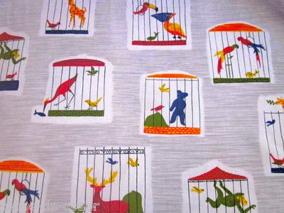 Perfect 1950s French Boussac Children's Fabric - Buffon  #1950s textile #French #Boussac #Children's Fabric #Buffon #animal textile