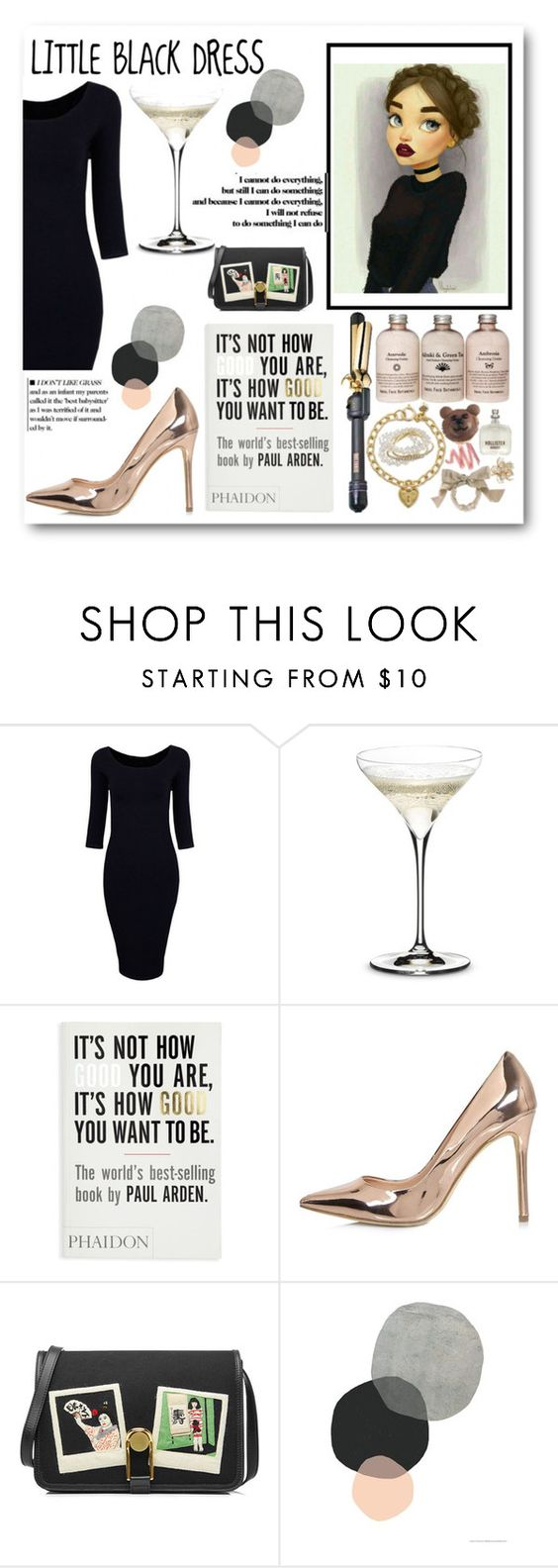 """little black dress"" by lianafourmouzi ❤ liked on Polyvore featuring Riedel, River Island and Olympia Le-Tan"