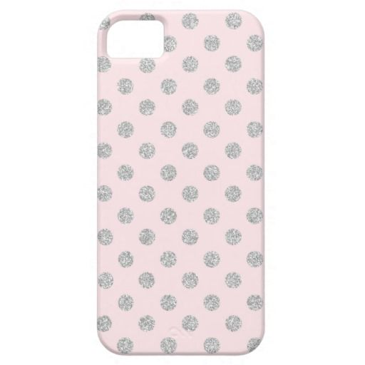 Pink and Silver Faux Glitter Polka Dots Pattern iPhone 5/5S Cases #iphone #cases #covers #skins #casemate