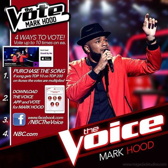 TONIGHT IS THE NIGHT!!! Yo....lets rock the vote tonight!! It's crazy that we can ACTUALLY DO THIS!! Download The Voice App! You can vote with as many emails as you have! Most importantly, BUY THE SONG! Let's do this tonight! Mark's so excited. #TheVoiceLIVE #VoicePlayoffs #MarkHood #Hoodies #HMHG #MarkMyWords #MarksVotingArmy