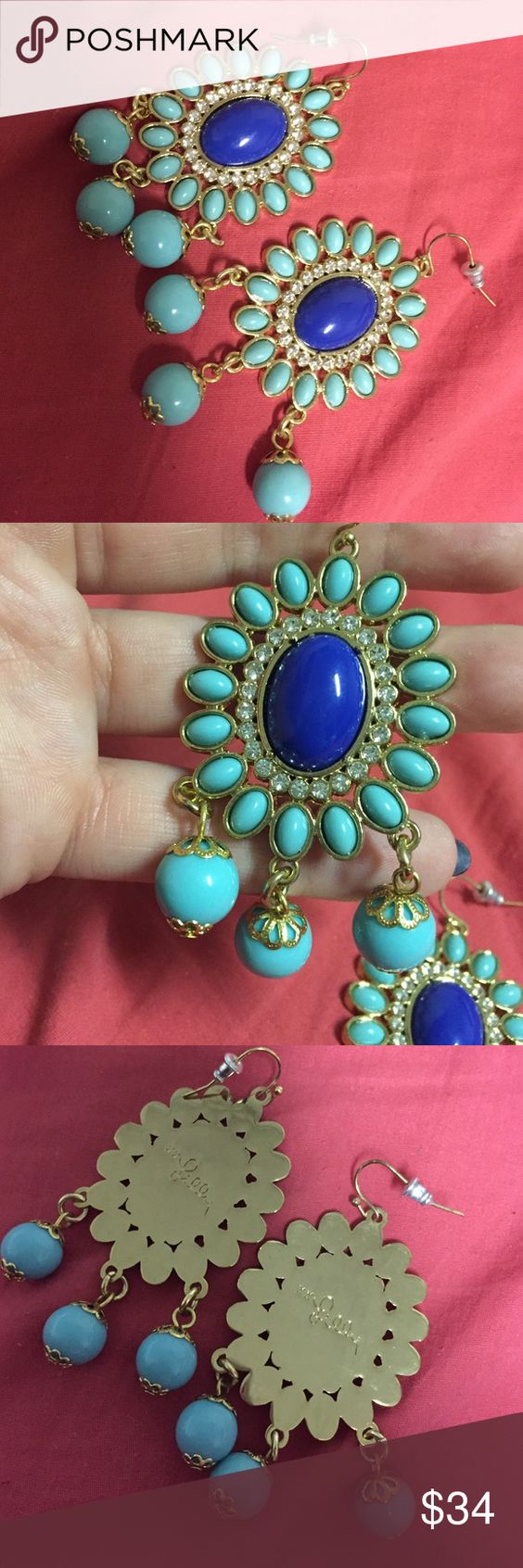 Lilly Pulitzer Earrings!!!! Adorable Teal And Aqua Blue Dangle Earrings  Worn