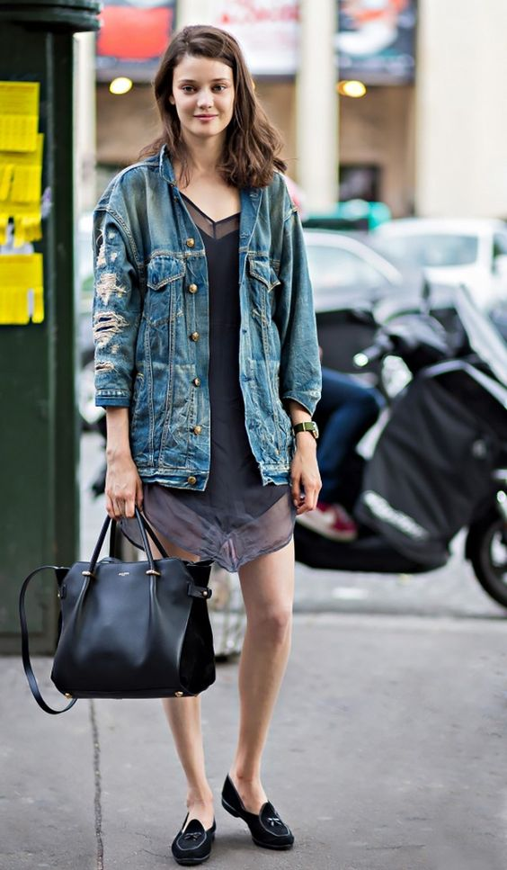 denim jacket and loafers