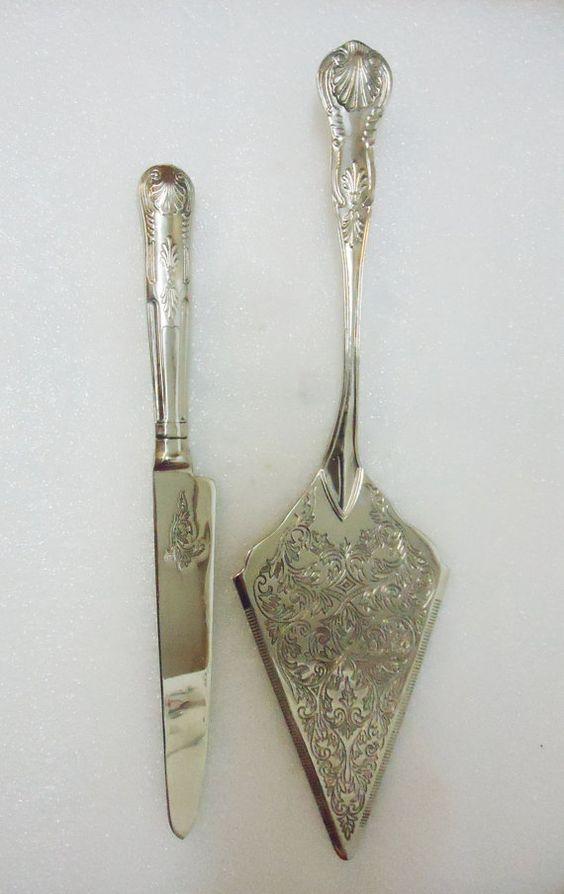 Vintage Silver Tone Wedding Cake Serving Knife by ChicEventsDecor