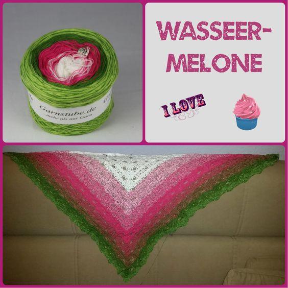 """Tuch aus Farbverlaufsgarn """"Wassermelone"""" von 500 m bis 1500 m Lauflänge, 3 bis 5fädig ab 6,90 € unter www.garnstube.de"""