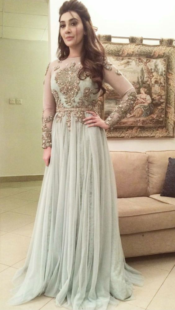 Embroidered Body and Grey Gown with Waist band