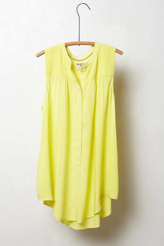 Anthropologie Smocked Henley Blouse in Yellow (lime)
