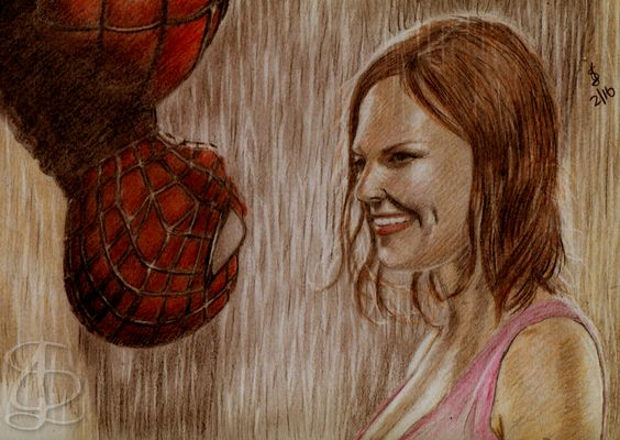 Spider-Man (Tobey Maguire) saves Mary Jane (Kirsten Dunst ...