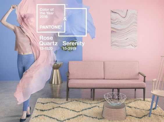 PANTONE 15-3919 Serenity und PANTONE 13-1520 Rose Quartz sind die PANTONE® Farben des Jahres 2016.