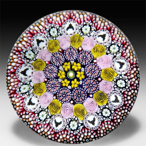 Mike Hunter 2014 close concentric millefiori bat silhouettes paperweight. by Twists Glass Studio / Love bats!!!