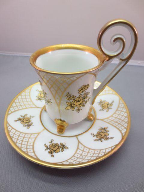 Edelstein Ornate Footed Demitasse Cup & Saucer Gold Floral Bavaria #27367/27