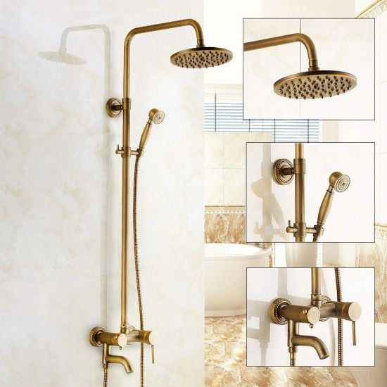 Antique Copper Shower Head Faucet Set Brass Bathtub Shower Faucet Set Showerhead Set With Rainfall Shower Faucet Sets Shower Faucet Bathtub Shower