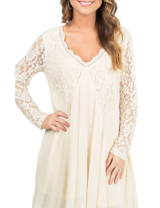PPLA Women's Cream with Lace Yokes and Long Sleeve Dress | Cavender's