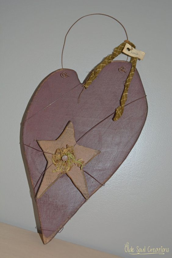 Burgundy Wooden Primitive Heart with Star by OldeSoulCreations, $17.00